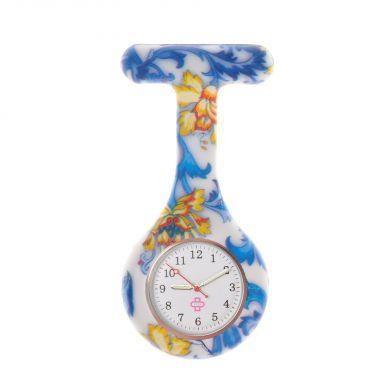 Porcelain nurse watch, blue/yellow