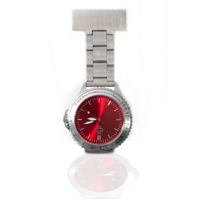 Nurse watch stainless steel, red